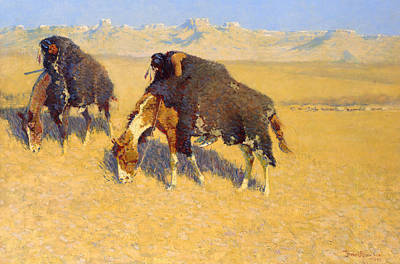 Remington Painting - Indians Simulating Buffalo by Frederic Remington