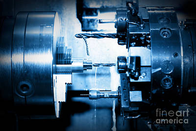 Metallic Photograph - Industrial Cnc Drilling And Boring Machine At Work by Michal Bednarek