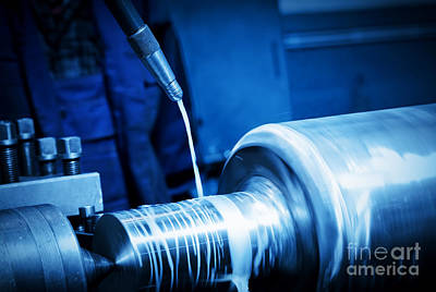 Industrial Turning Machine At Work Close-up Art Print