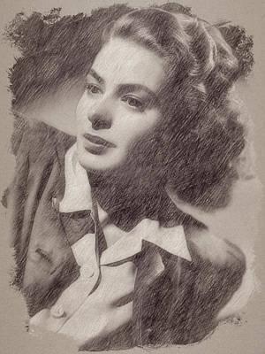Celebrities Paintings - Ingrid Bergman by Esoterica Art Agency