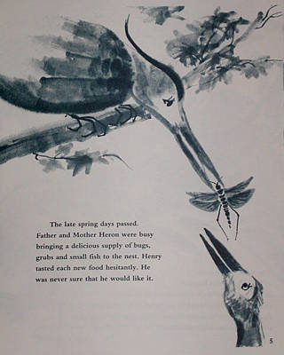 Painting - Inside Illustration For Henry The Hestiant Heron by Anne Cameron Cutri