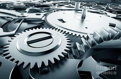 Mechanics Photograph - Inside Mechanism, Clockwork With Working Gears. by Michal Bednarek