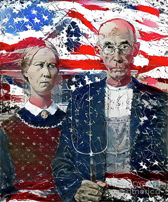 Colonial Man Digital Art - Inspired By American Gothic by Amy Cicconi