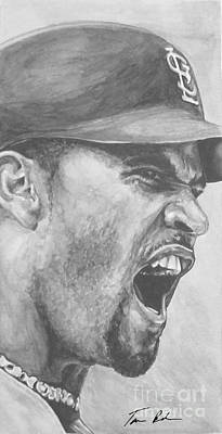 Baseball Parks Painting - Intensity Pujols by Tamir Barkan