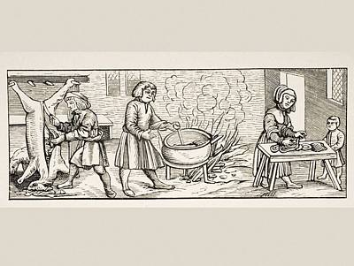 Cook Drawings Drawing - Interior Of A 16th Century Kitchen by Vintage Design Pics
