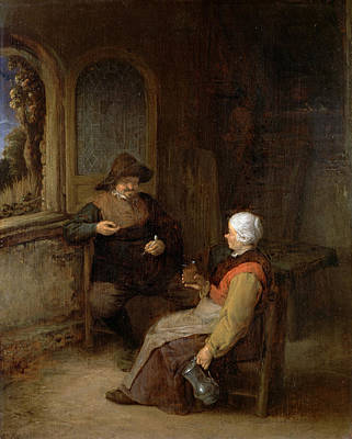 Couple Painting - Interior Of A Cottage by Adriaen van Ostade