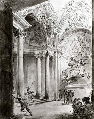 Drawing - Interior Of Saint Peter's by Hubert Robert