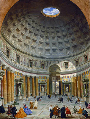 Pantheon Painting - Interior Of The Pantheon, Rome by Giovanni Paolo Panini