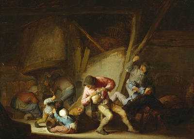 Adolescent Painting - Interior With Drinking Figures And Crying Children by Adriaen van Ostade