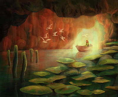 Into The Cave Art Print by Catherine Swenson