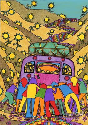 School Bus Painting - Family Of Friends - On The Camino by Mag Pringle Gire