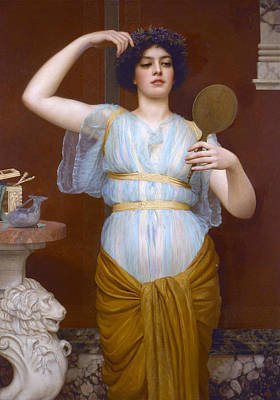 Mirror Painting - Ione by John William Godward