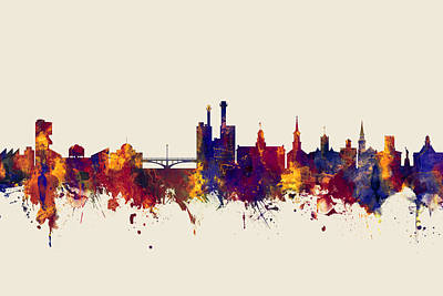 Digital Art - Iowa City Iowa Skyline by Michael Tompsett