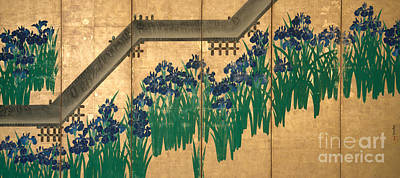 Painting - Irises At Yatsuhashi  Eight Bridges by Ogata Korin