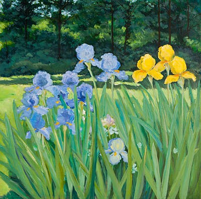 Irises In The Garden Art Print by Betty McGlamery