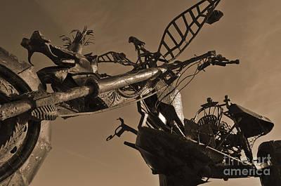 Iron Motorcycle Sculpture In Faro Art Print