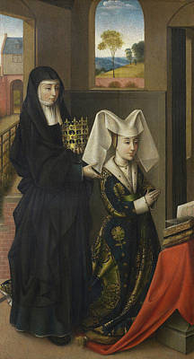 Book Painting - Isabel Of Portugal With Saint Elizabeth by Petrus Christus