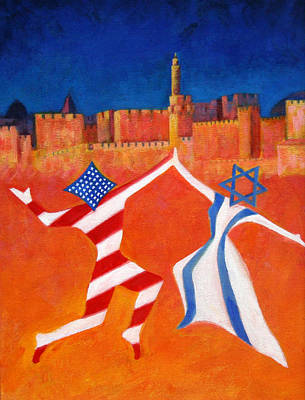 Israel And Usa Dancing Art Print by Jane  Simonson