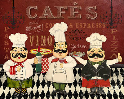 Italian Kitchen Painting - Italian Chefs-jp3048 by Jean Plout