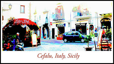 Italian City Street Scene Digital Art Art Print