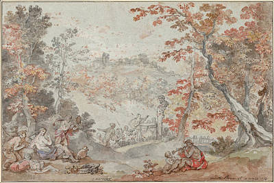 Charles-joseph Natoire Drawing - Italian Fall Landscape With Monte Porzio And An Offering To Pan by Charles-Joseph Natoire