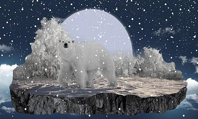 Bears Mixed Media - It's Snowing by Marvin Blaine