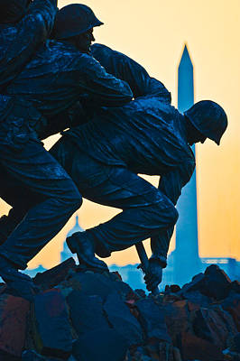 Marine Corps Photograph - Iwo Jima Memorial At Dusk by Panoramic Images