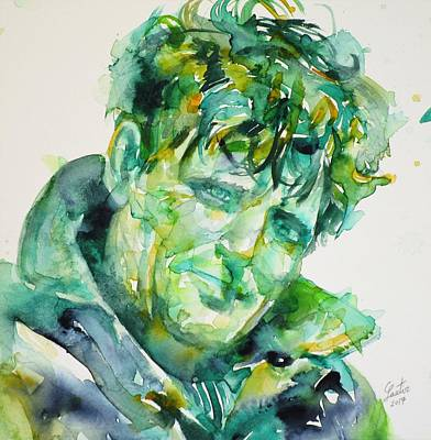 Painting - Jack London - Watercolor Portrait by Fabrizio Cassetta