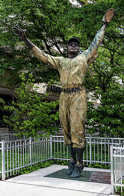 Athletes Royalty-Free and Rights-Managed Images - Jackie Robinson Statue Journal Square Jersey City NJ by Robert Ullmann