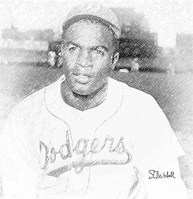 Drawing - Jackie Robinson by Stephen Mitchell