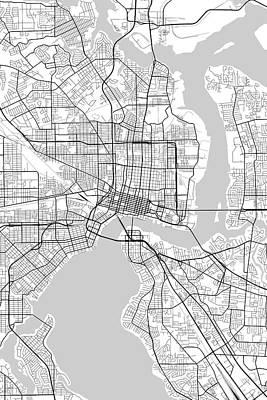 Travel - Jacksonville Florida USA Light Map by Jurq Studio