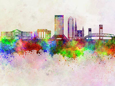 Jacksonville Skyline In Watercolor Background Art Print by Pablo Romero