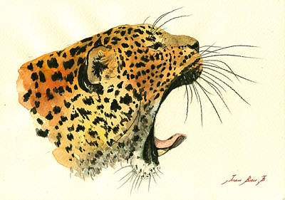 Leopard Wall Art - Painting - Jaguar Head Painting Watercolor by Juan  Bosco