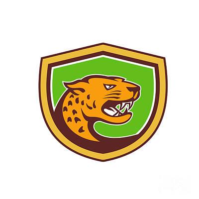 Jaguar Head Side Growling Shield Retro Art Print