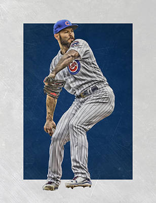Bat Mixed Media - Jake Arrieta Chicago Cubs Art by Joe Hamilton