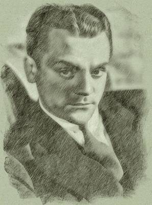 Musicians Drawings Rights Managed Images - James Cagney by John Springfield Royalty-Free Image by John Springfield