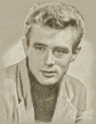 Star Trek Drawing - James Dean Hollywood Legend by Frank Falcon