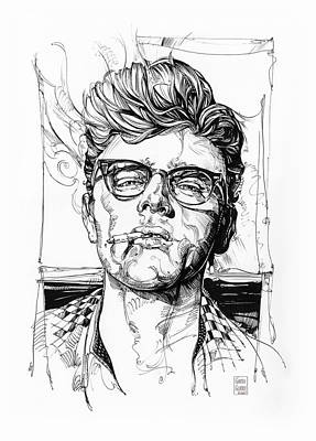 Actors Royalty-Free and Rights-Managed Images - James Dean Inking by Garth Glazier