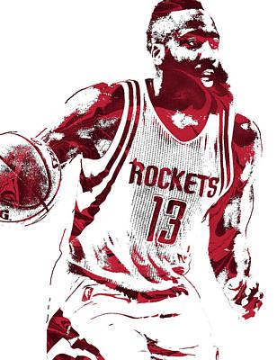 Mixed Media - James Harden Houston Rockets Pixel Art 2 by Joe Hamilton