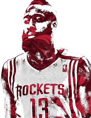 Mixed Media - James Harden Houston Rockets Pixel Art  by Joe Hamilton