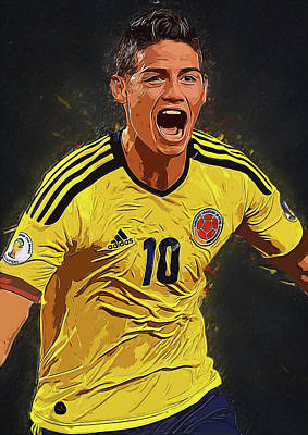 Cristiano Ronaldo Digital Art - James Rodrigez by Semih Yurdabak