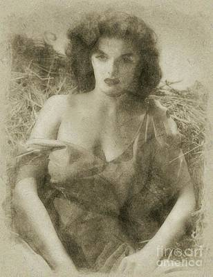John Wayne Drawing - Jane Russell Hollywood Actress by Frank Falcon