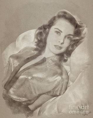 Musicians Drawings Rights Managed Images - Janet Leigh, Vintage Actress Royalty-Free Image by Esoterica Art Agency