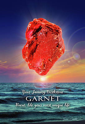 Digital Art - January Birthstone Garnet by Evie Cook