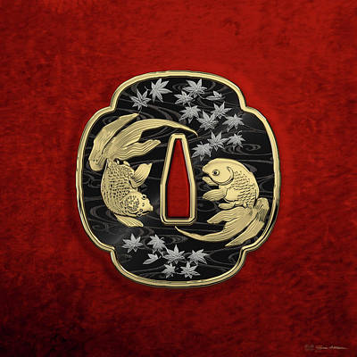 Koi Fish Photograph - Japanese Katana Tsuba - Twin Gold Fish On Black Steel Over Red Velvet by Serge Averbukh