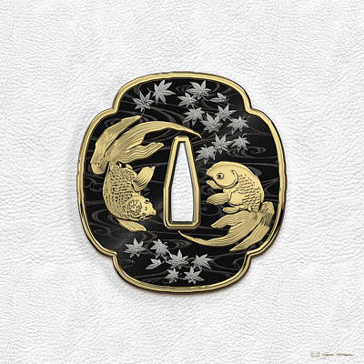 Koi Fish Photograph - Japanese Katana Tsuba - Twin Gold Fish On Black Steel Over White Leather by Serge Averbukh