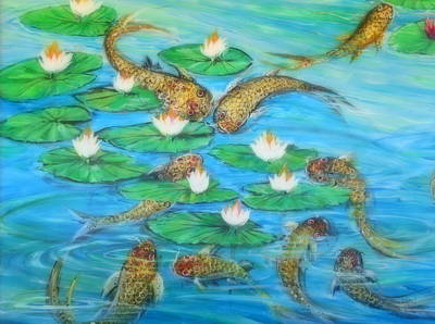 Lynn Burton Wall Art - Painting - Japanese Koi Pond by Lynn Burton