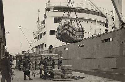 Japanese Silk Photograph - Japanese Longshoremen Loading Bundles by Everett