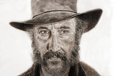 Drawing - Jason Robards As Cheyenne In Once Upon A Time In The West by Jim Fitzpatrick