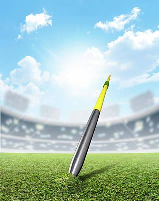 Peg Game Digital Art - Javelin In Stadium And Green Turf by Allan Swart
